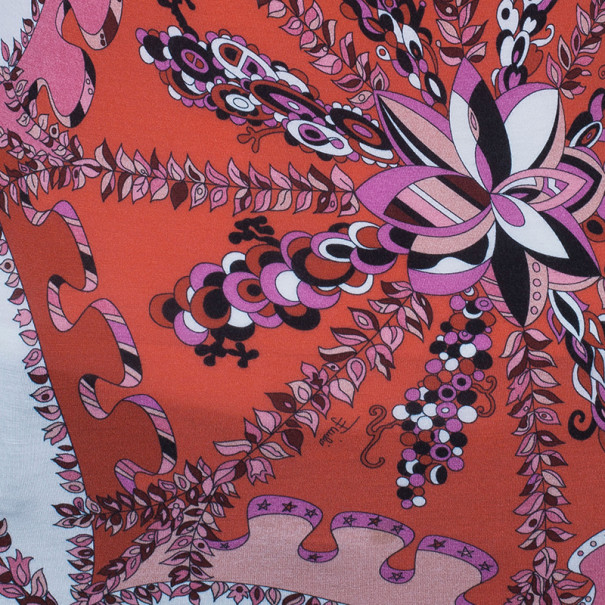 Emilio Pucci Abstract Printed Cotton Top M