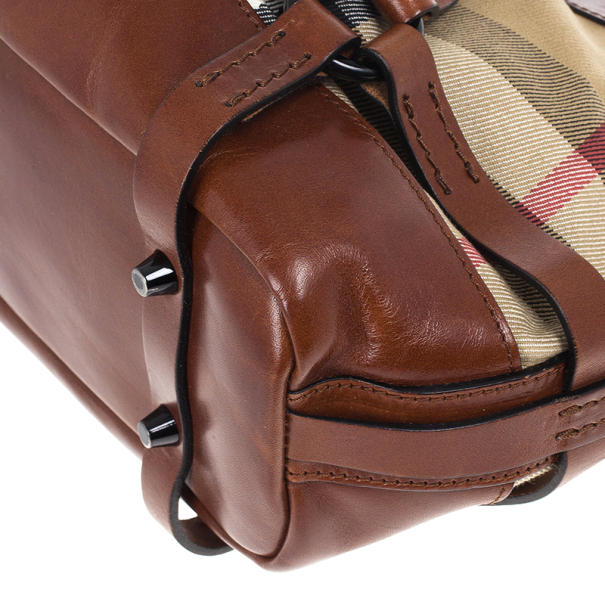 Burberry Brown Leather Bridle House Check Hobo