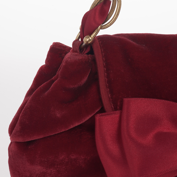 Moschino Satin Bow Red Velvet Clutch