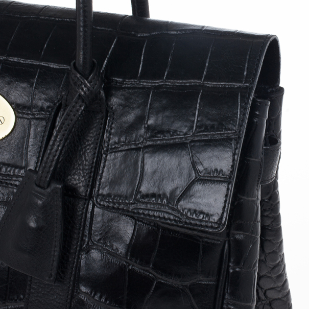 Mulberry Black Soft Croc Printed Bayswater Satchel