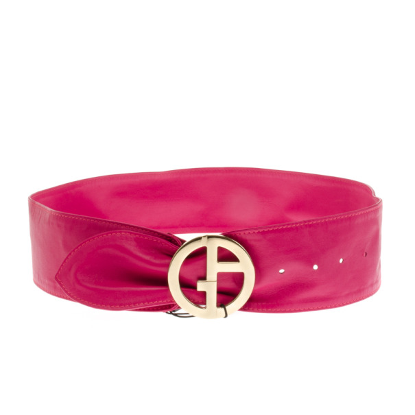Giorgio Armani Pink Leather Waist Belt Size 44