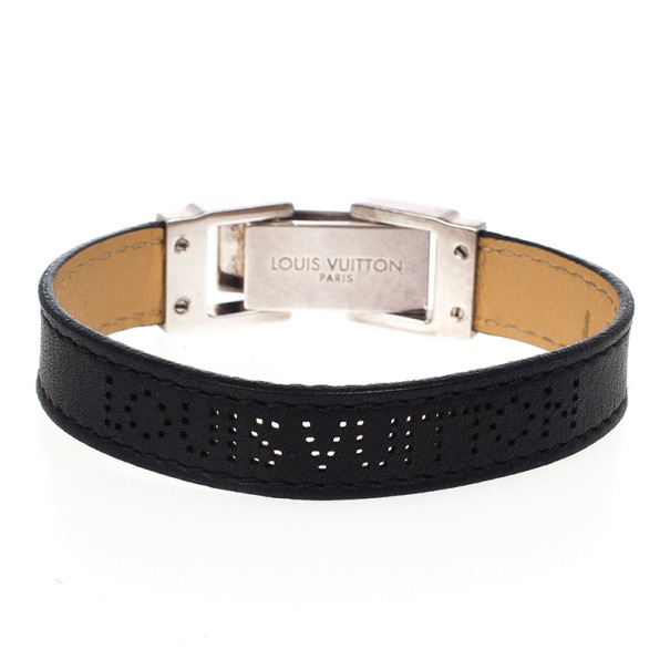 Louis Vuitton Black Leather Silver Clasp Unisex Bracelet 18 CM