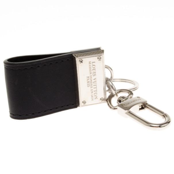 Louis Vuitton Black Leather Keyring