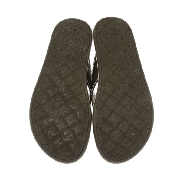 Louis Vuitton Green Leather Ipanema Thong Sandals Size 42