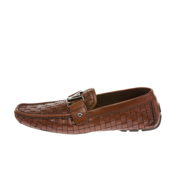 Louis Vuitton Brown Woven Leather Monte Carlo Loafers Size 41.5