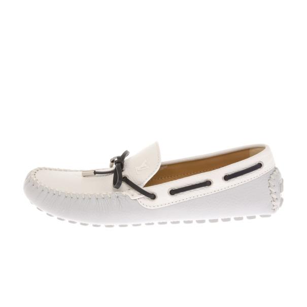 Louis Vuitton White Leather Arizona Loafers Size 41.5