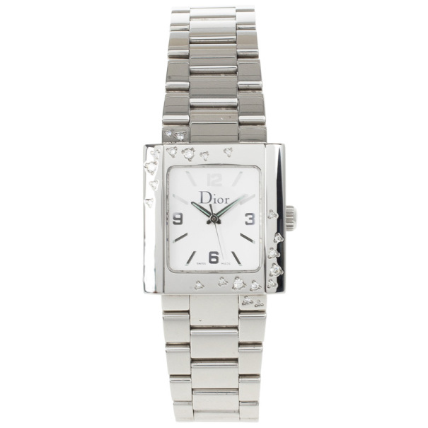 Christian Dior White Stainless Steel Riva Womens Wristwatch 24.5MM