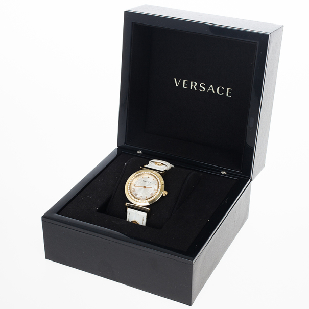 Versace White Gold-Plated Steel Leather Vanity Womens Wristwatch 34MM
