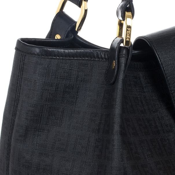 Fendi Black Zucchino Spalmati 'Forever' Shoulder Bag