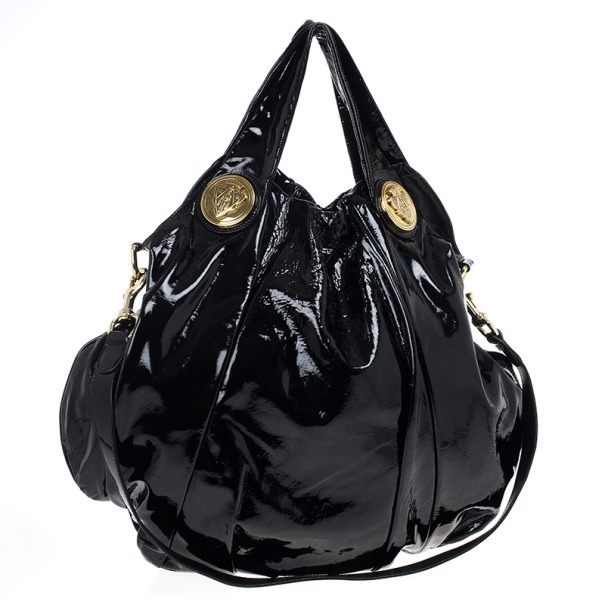 Gucci Black Patent Leather Hysteria Hobo
