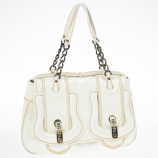 Fendi White Patent Leather B Bag