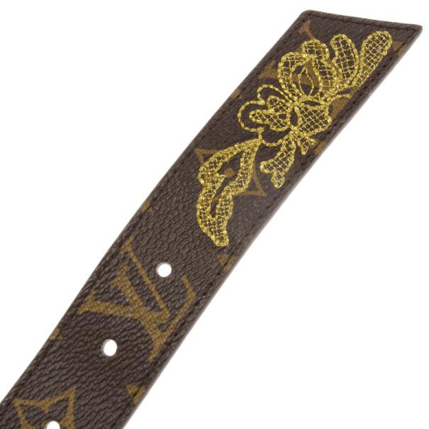 Louis Vuitton Limited Edition Monogram Canvas Dentelle Belt 95 CM