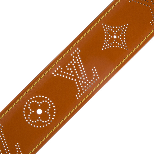 Louis Vuitton Brown Leather Mahina Perforated Belt 100 CM