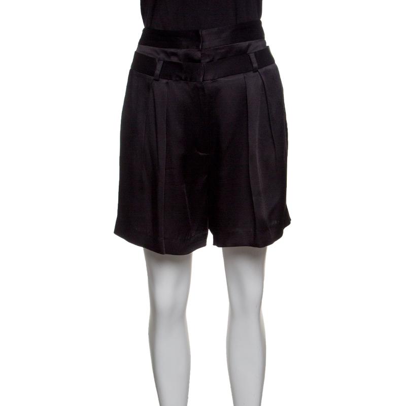 Купить со скидкой Paul and Joe Black Satin Double Waist Band Detail Shorts M