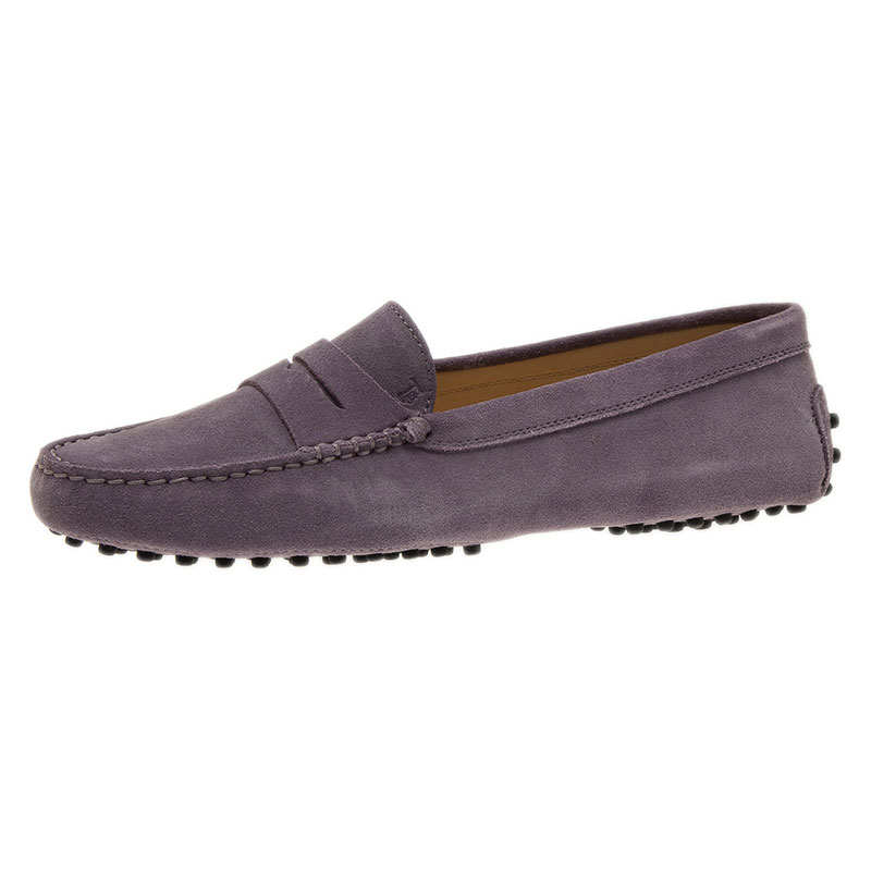 Tod's Lilac Suede Penny Loafers Size 39