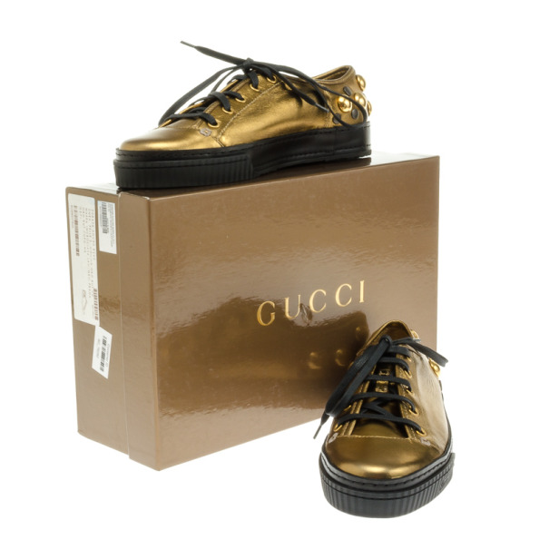 Gucci Golden Leather Babouska Studded Praga Sneakers Size 37.5