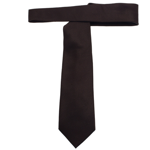 Ermenegildo Zegna Brown Silk Tie