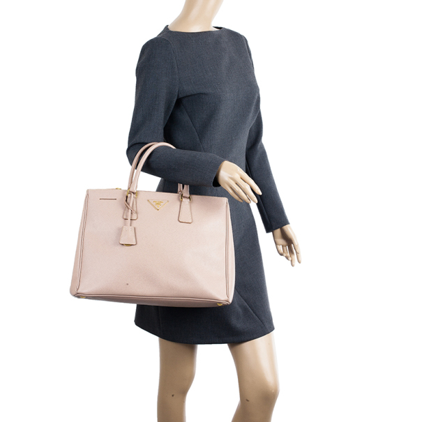 Prada Pink Cammeo Saffiano Lux Double-Zip Tote Bag
