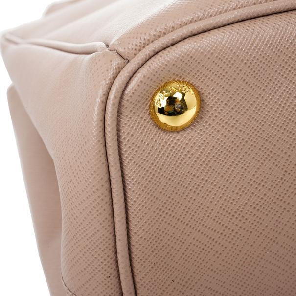 Prada Pink Cammeo Saffiano Lux Double-Zip Tote Bag