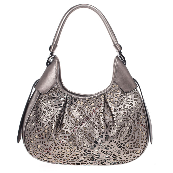 Burberry Silver Nickel Lasercut Leather and Supernova Check Brooklyn Bag