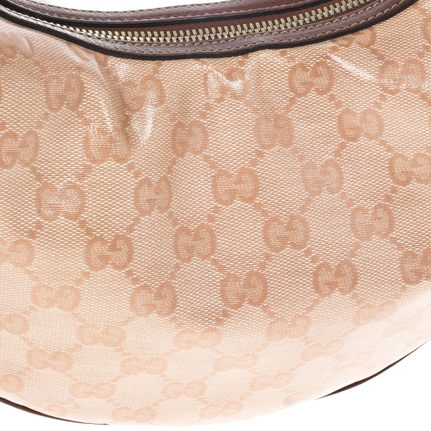 Gucci Pink GG Crystal Coated Canvas Duchessa Medium Hobo Bag