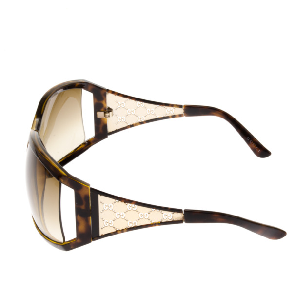 Gucci 2999 Gold Wire Frame Cutout GG Womens Sunglasses