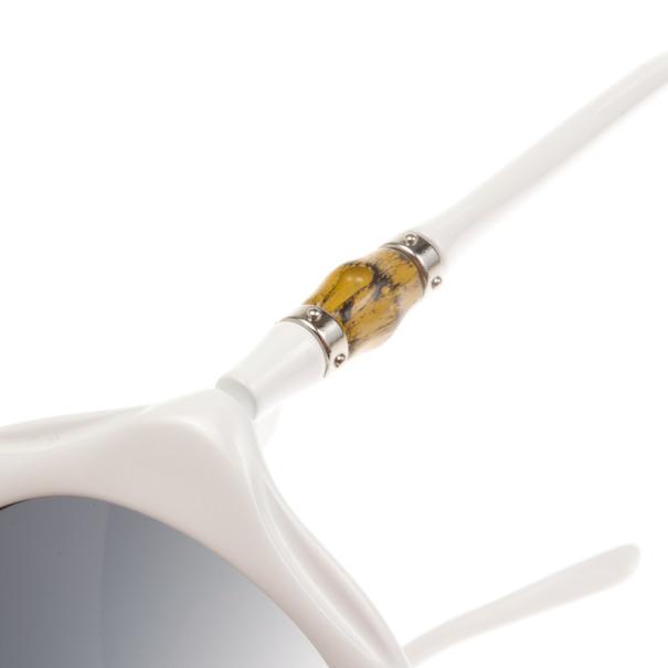 Gucci White 3130 Bamboo Detail Oversize Round Sunglasses