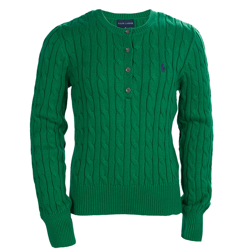 Ralph Lauren Green Cable Knit Suede Elbow Patch Detail Sweater 810