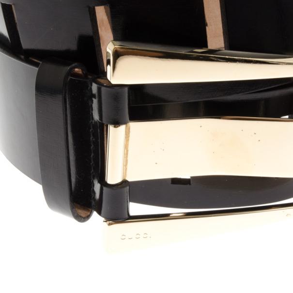 Gucci Black Patent Buckle Belt 95 CM