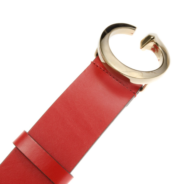 Gucci G Buckle Red Leather Belt 100 CM