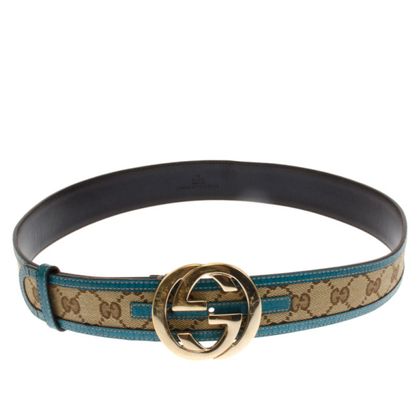 Gucci Guccissima Canvas Blue Trim GG Buckle Belt 90 CM