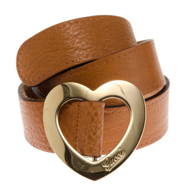Gucci Brown Leather Heart Buckle Belt 90 CM