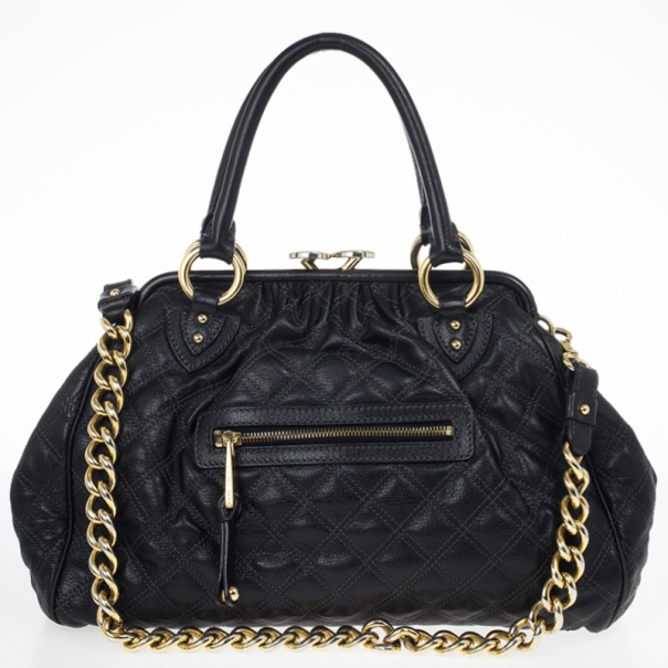 Marc Jacobs Black Quilted Leather Stam Satchel