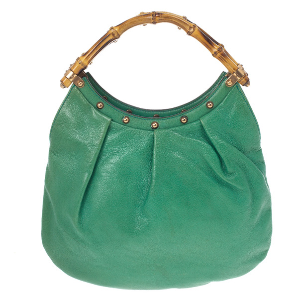 Gucci Leather Studded Bamboo Handle Hobo