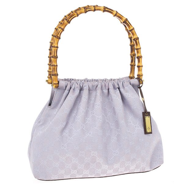 Gucci Vintage Lilac Canvas Bamboo Bag