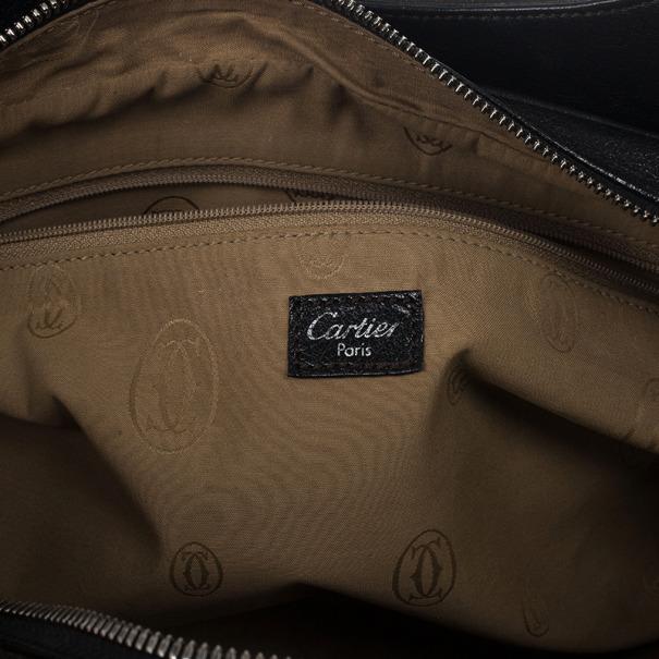 "Cartier Black Leather ""Marcello de Cartier"" Bag"