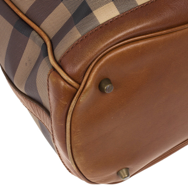 Burberry Brown Medium Smoked Check Hobo