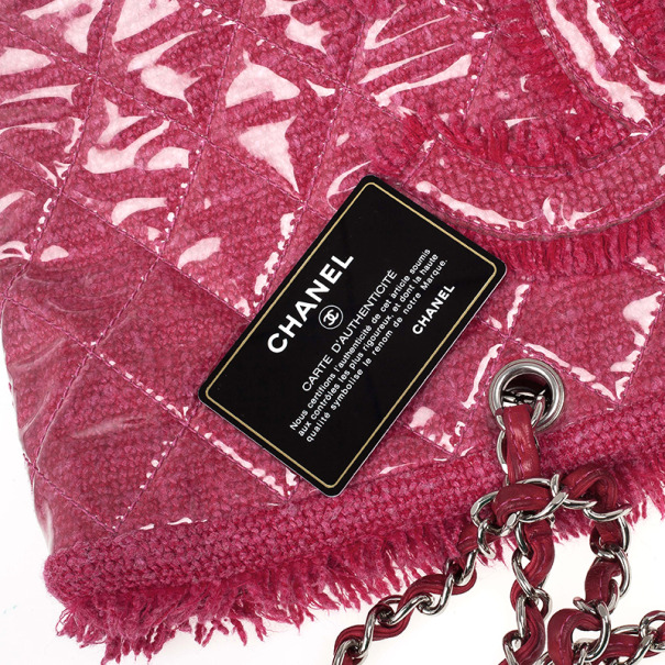 Chanel Fuchsia Tweed and Quilted Vinyl CC Logo Tote Bag