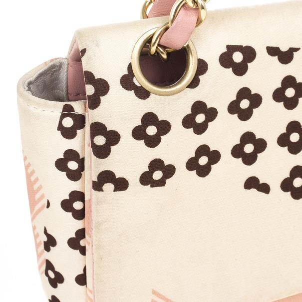 Chanel Pale Pink Floral Satin Shoulder Bag