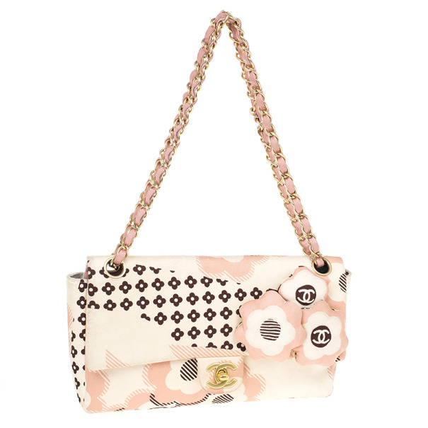 Chanel Pale Pink Floral Satin Shoulder Bag