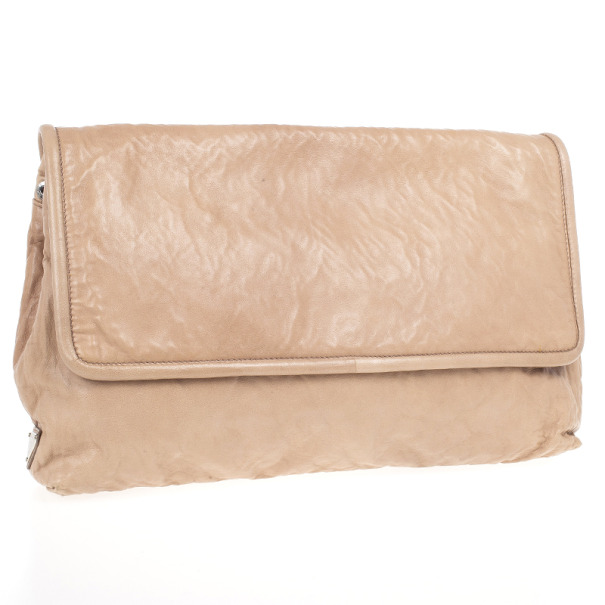 Prada Nappa Antique Leather Maxi Clutch