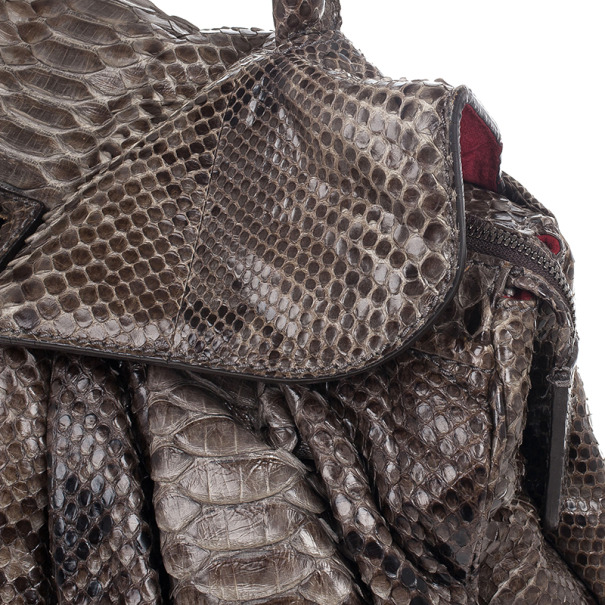 Zagliani Grey Python Puffy Handbag