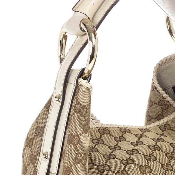 Gucci Beige/Ebony GG Canvas Horsebit Medium Hobo Bag