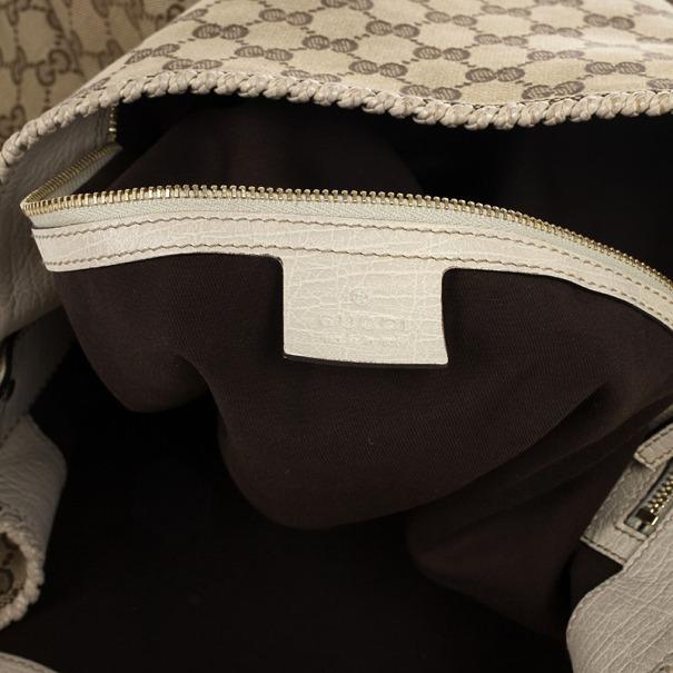 Gucci Beige/Ebony GG Canvas Horsebit Medium Hobo Bag