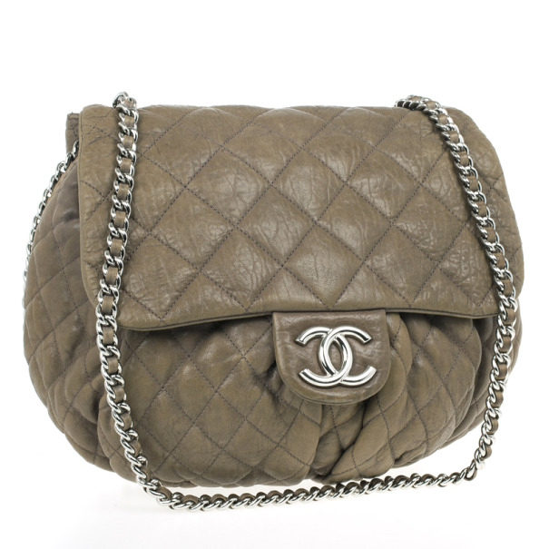 Chanel Olive Green Quilted Bubble Bag