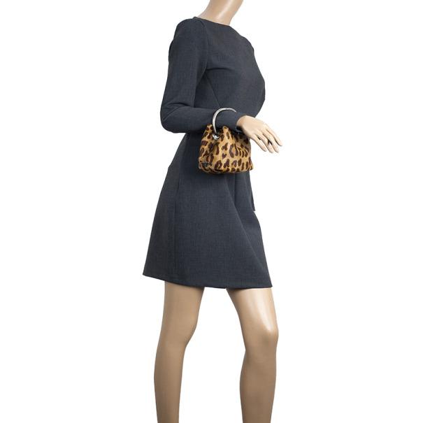 Prada Leopard Print Pony Hair Wristlet Evening Bag