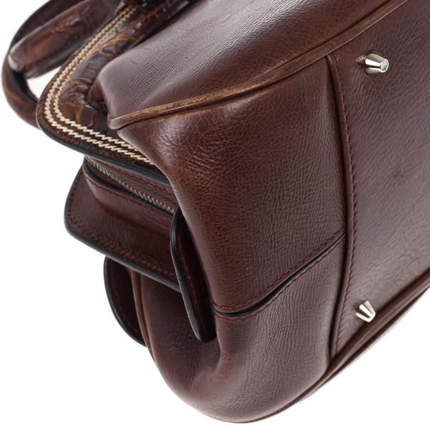 Dior Brown Leather Medium Detective Satchel Bag