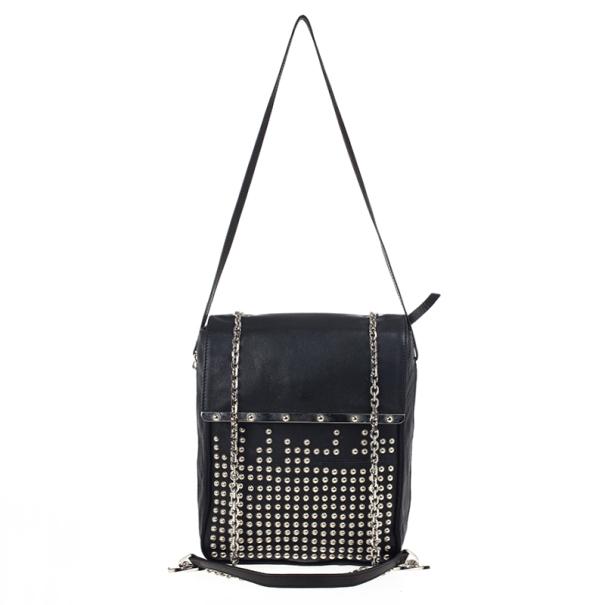 Christian Louboutin Black Edie Studded Leather Shoulder Bag