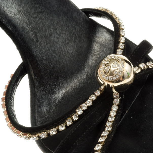 Gucci Black Suede Crystal Ankle Strap Sandals Size 36