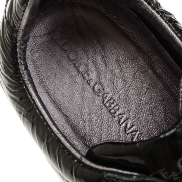 Dolce and Gabbana Black Patent Sneakers Size 40